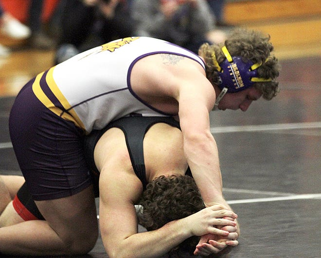 Justin Blankenship of Bronson won a district title at 215 pounds on Saturday.