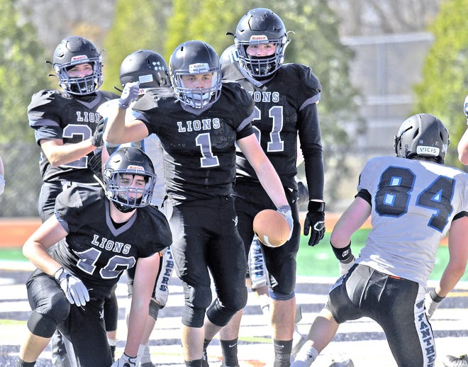 West Boylston's Danny Williams celebrates his first-half touchdown during Saturday's win over Plymouth South.