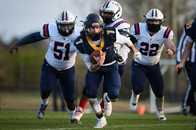 Cape Fear sophomore quarterback Cole Wilson (7) led Cumberland County with 1,108 passing yards in the regular season.
