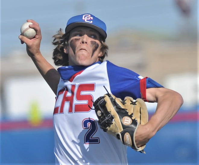 Cooper pitcher Jack Keefer throws a pitch in the first inning against Lubbock Monterey.