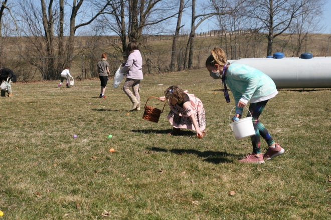 Children pick up Easter eggs Saturday at the Crawford County Humane Society.