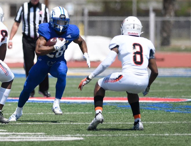 Texas A&M-Kingsville faces University of Texas-Permian Basin in a football game, Saturday, March 20, 2021, at Javelina Stadium. This is A&M-Kingsville's first football game in more than a year because of COVID-19 restrictions.