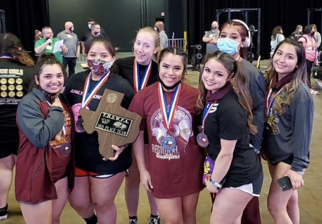 The Tuloso-Midway girls won two gold medals and won third as a team at the Class 4A Texas High School Women's Powerlifting Championship on Friday at the American Bank Center.