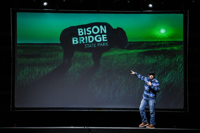 Chad Pregracke, with Livings Lands & Waters, gives a presentation on Bison Bridge at the Rust Belt Thursday, March 18, 2021, in East Moline, Illinois.