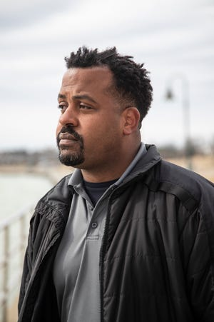 Johnny Lee Grays, a U.S. Customs and Border Protection officer near the Blue Water Bridge in Port Huron, Thursday, March 18, 2021.