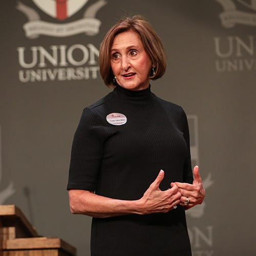 Trudy Cathy White, daughter of the founders of Chik-fil-A spoke at Union University's annual Faith in the Marketplace lecture last week.