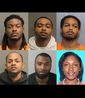 Top from left: Montez Lamont Brown, Tevin Travon Kelly and Anthony Campbell. Bottom from left: Nathan Wilson Rosenthal Jr., Demarrious D. Malone and Quanisha J. Moore.
