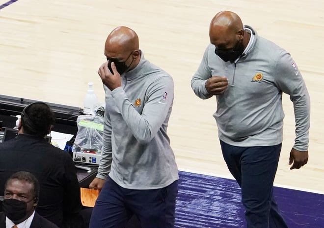 Mar 19, 2021; Phoenix, Arizona, USA; Phoenix Suns head coach Monty Williams is ejected from the game after receiving double technical fouls against the Minnesota Timberwolves in the first half at Phoenix Suns Arena. Mandatory Credit: Rob Schumacher-Arizona Republic
