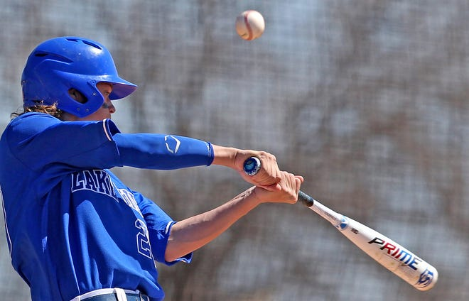 Lake View's Cade Henry makes contact at the plate during a game against Sweetwater on Saturday, March 20, 2021