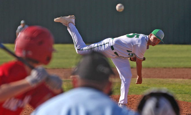 Reece Horton delivers a pitch to the plate for Wall during a game against Jim Ned on Friday, March 19, 2021.