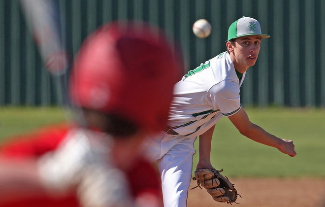 Austin Williams delivers a pitch to the plate for Wall during a game against Jim Ned on Friday, March 19, 2021.