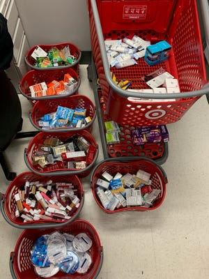 Stolen merchandise from Target seized during a an organized retail theft investigation in Moorpark on Tuesday.