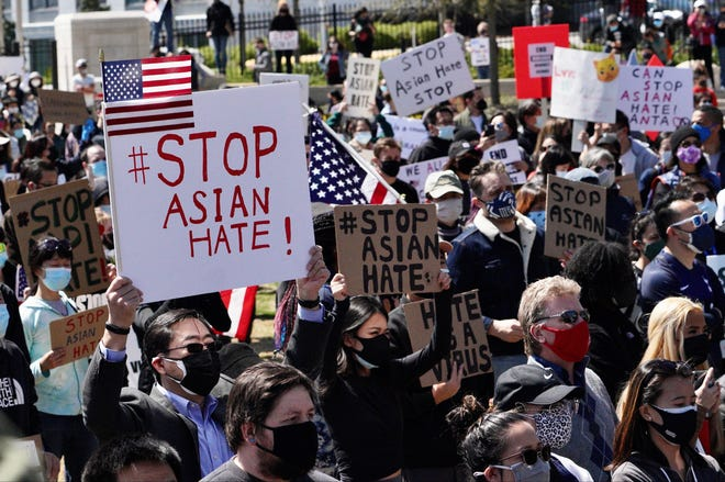 Hundreds of people gathered in downtown Atlanta on Saturday for a rally and march in honor of the victims of this week's shootings in several spas in the area.  The six victims were Asian women.