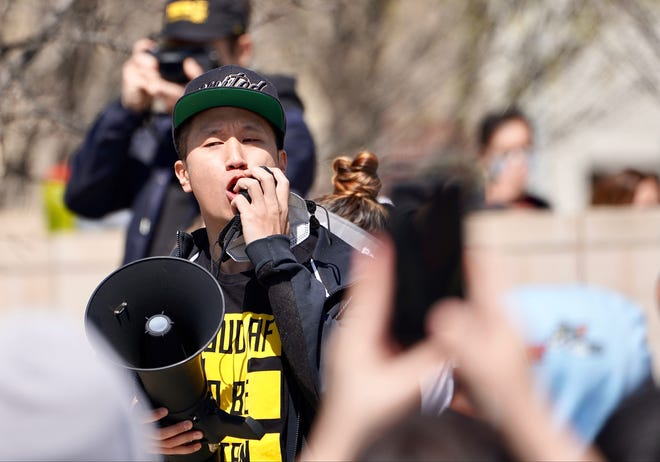 New York city-based actor and activist Will Lex Ham speaks to the crowd at a rally supporting Asian Americans following the shootings in Atlanta. He has spent the past year helping organize similar rallies nationwide.