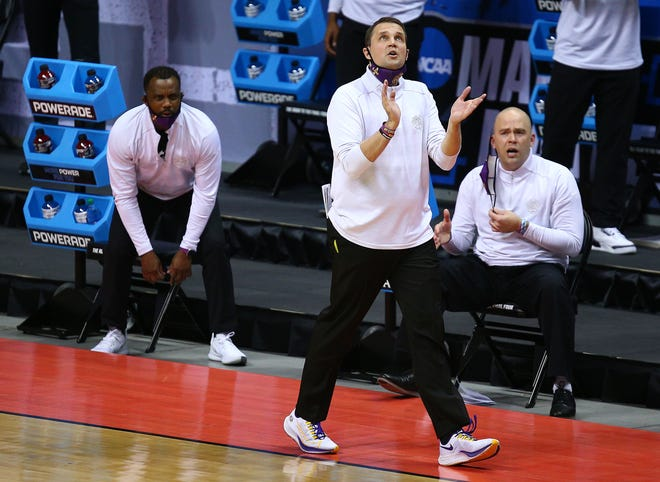 LSU men's basketball coach Will Wade cheers the Tigers during their win over St. Bonaventure in the opening round of the NCAA Tournament.