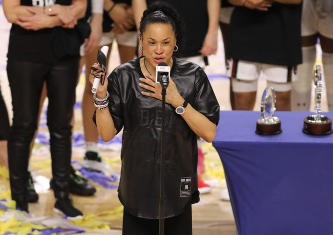 South Carolina women's basketball coach Dawn Staley has issues with NCAA leadership and president Mark Emmert.