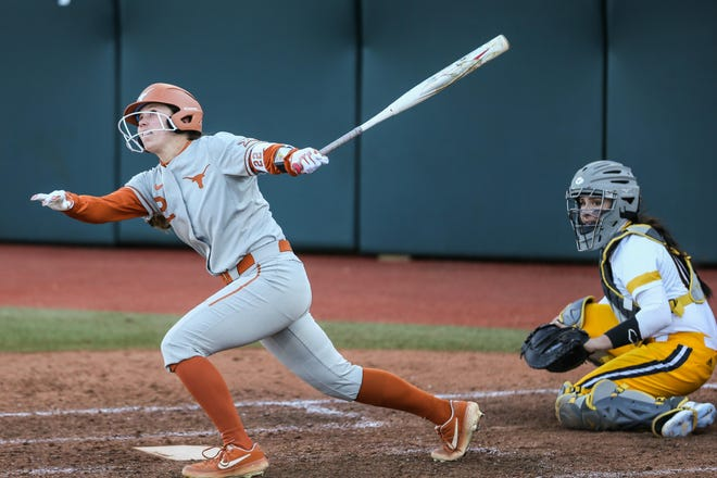 MK Tedder hits against Wichita State last season at McCombs Field in Austin. Tedder had two doubles in one of the Longhorns' wins over New Mexico on Saturday. Texas swept the series.