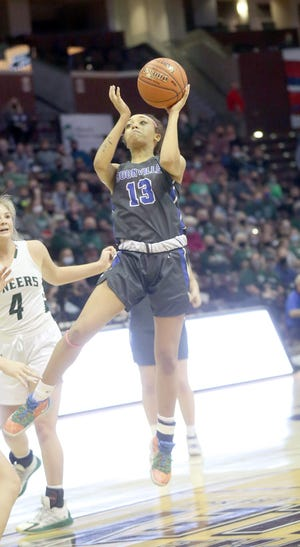 Boonville senior Jodie Bass puts up a shot in the middle of the lane in the second half Saturday against Mt. Vernon in the Class 4 state championship game at JQH Arena in Springfield.