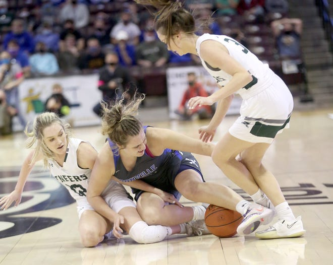 Boonville senior Kourtney Kendrick scrambles for a loose ball in the second half Saturday against Mt. Vernon in the Class 4 state championship game at JQH Arena in Springfield.