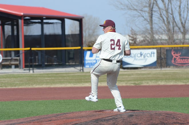 Jake Osowski pitches during a game against St. Cloud State last week in Fort Scott, Kan. Osowski picked up the win for Minnesota Crookston in the second game of a doubleheader at Winona State Saturday.