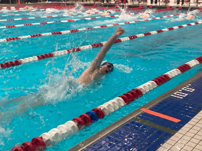 McDowell's Owen Hardner competes in the 200-yard freestyle during Saturday's PIAA Class 3A boys swimming meet at Cumberland Valley High School in Mechanicsburg. Hardner, who qualified for that event as District 10's gold medalist, was timed at 1 minute, 49.06 seconds.