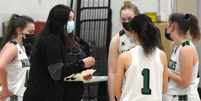 Kelli Shepardson, Herkimer's varsity girls' basketball coach, goes over strategy with the Magicians during the fourth quarter of Friday's game against Frankfort-Schuyler.
