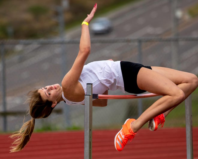 Lakeland Christian senior Cylee Wilson competes in the high jump on Saturday at the George Jenkins Classic. The top three finishes all jumped 5-01.75, and Wilson finished third in the tiebreaker.