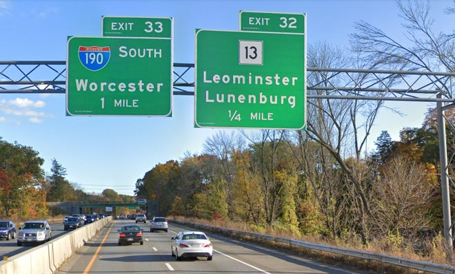 Exits along the freeway sections of Route 2, including in Leominster, will be renumbered based on mileage starting Thursday, March 25. For example, Exit 32 (Route 13) will become Exit 100 and Exit 33 (Interstate 190) will become Exit 101.