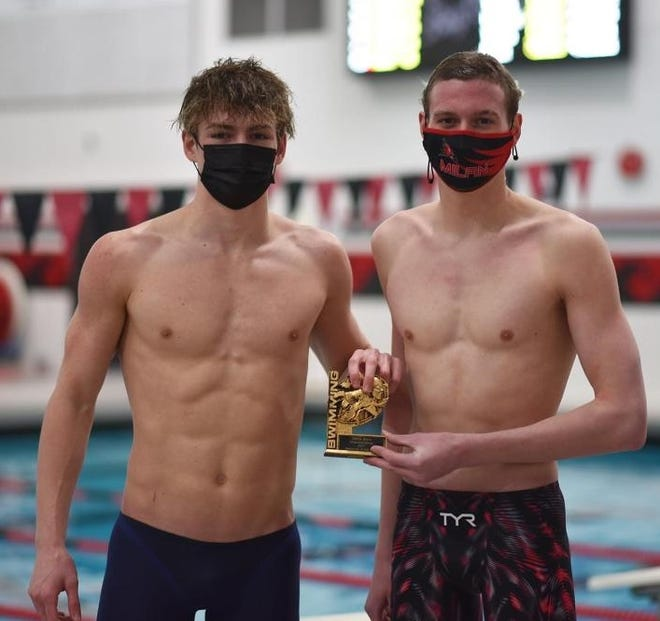 Micah Scheffer of Bedford (left) and Milan's Andy Dobrzanski shared Swimmer of the Year honors in the SMISL.