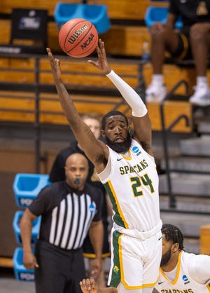 Jalen Hawkins, shown in Norfolk State's previous game in the NCAA tournament, had eight points Saturday in his team's loss to No. 1 Gonzaga.