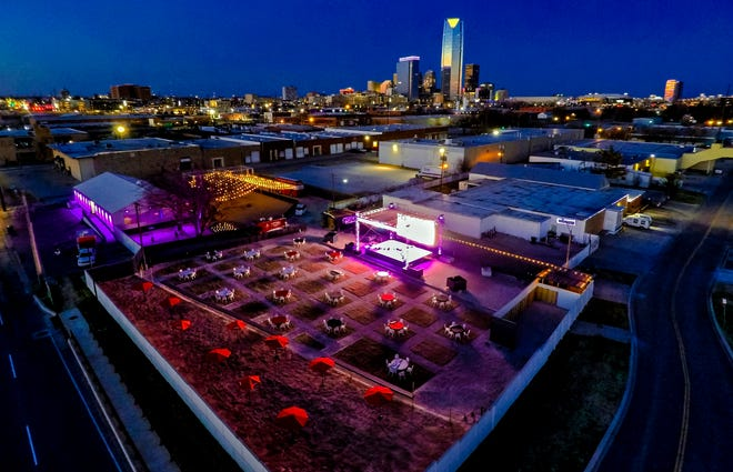 The new Relax Park located in the 500 block of S Western Ave. features two outdoor stages, outdoor patios, an open-air bar, marijuana dispensary, jumbo trons and a food truck court.