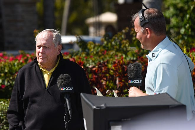 Jack Nicklaus speaks to Golf Channel's Steve Sands during the final round of the Honda Classic at the PGA National Resort & Spa in Palm Beach Gardens, FL, on Sunday, March 21, 2021.