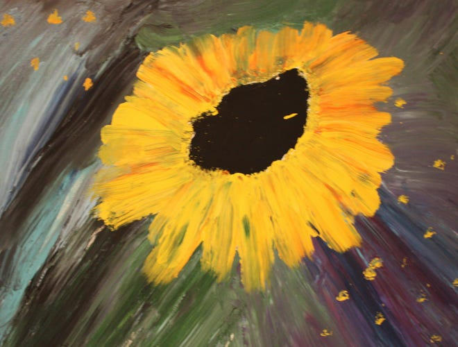 This canvas created by Jill Wilson is one of many Arc artworks that can be seen on display at the Wellsville Creative Arts Center through May 16.