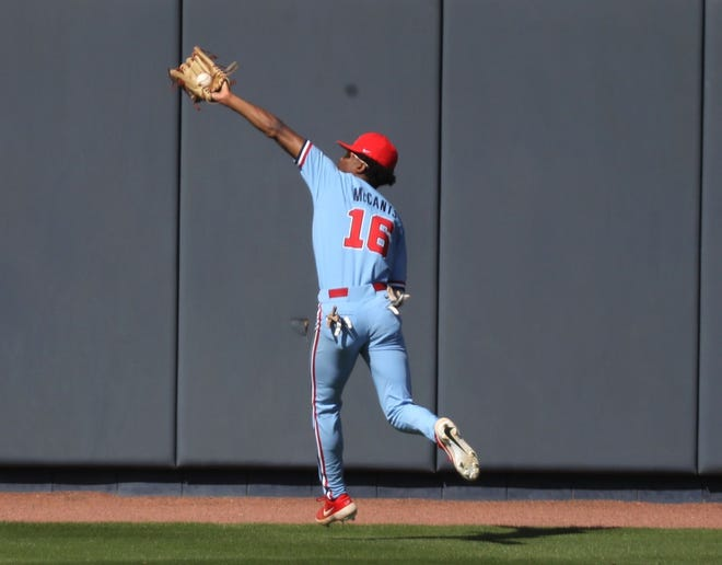 Freshman outfielder TJ McCants snags a ball in centerfield in Ole Miss' win over Auburn on March 21st.