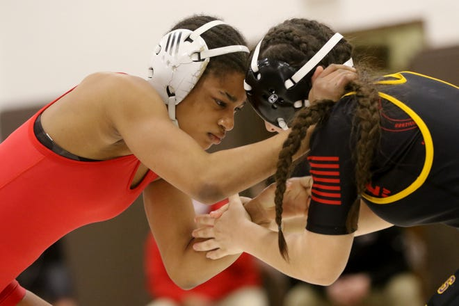 Kira Pipkins, of Bloomfield, and Theresa Zeppetelli, of Bogota, square off at the Bergen County Women Coaches Association Girls Wrestling Invitational, in Montvale.  Pipkins went on to win the 123 pound final. Sunday, March 21, 2021