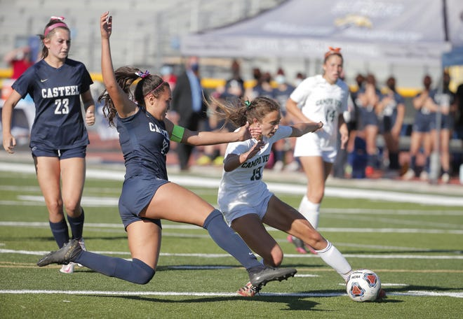 Campo Verde High School Mary Wagoner (21) and Casteel High School Ava Wheaton (19) battle for the ball during the Girls 5A soccer final at Desert Vista High School in Phoenix on March 20, 2021.