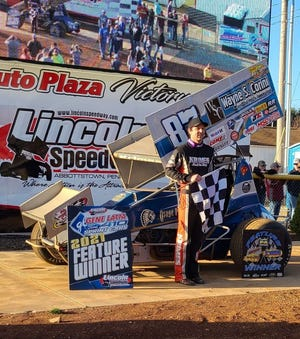 Alan Krimes is shown after Saturday's win at Lincoln Speedway.