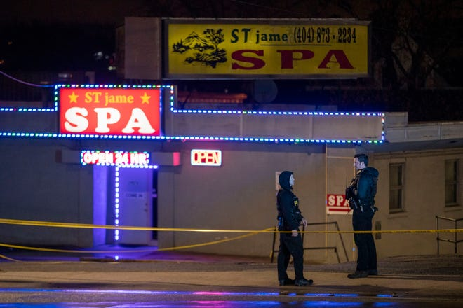 Atlanta police officers and detectives respond to a crime scene at Aromatherapy Spa and Gold Spa in Atlanta on Tuesday, March 16, 2021. (Alyssa Pointer/The Atlanta Journal-Constitution/TNS)