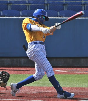 Angelo State University right fielder Josh Elvir hits a grand slam in the bottom of the sixth during a Lone Star Conference game against Texas A&M International at Foster Field at 1st Community Credit Union Stadium on Sunday, March 21, 2021.