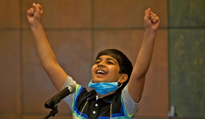Akash Vukoti celebrates after winning the 32nd annual San Angelo Area Spelling Bee at the San Angelo Museum of Fine Arts on Saturday, March 20, 2021.