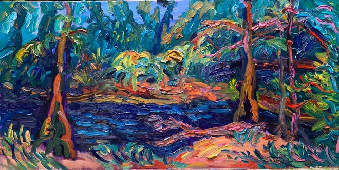 Alapahoochee River 18x36 Inches Oil On Canvas is part of In a Vivid Light, Plein Air Paintings by Julie Bowland running April 2-May 23, 2021, at Venvi Gallery. Closing Reception: 5-8 pm May 21, 2021.