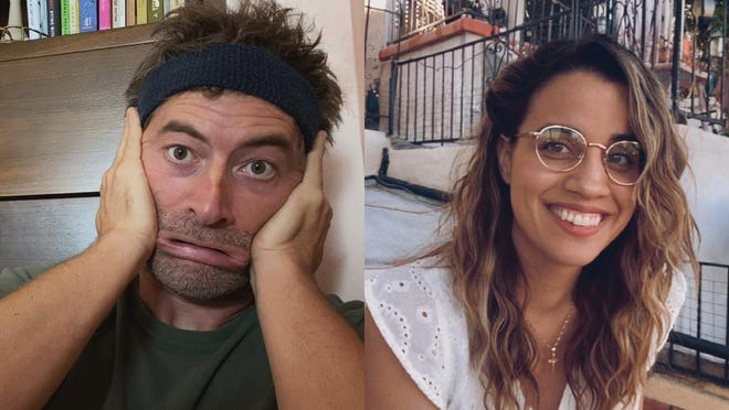"""Adam (Mark Duplass) gets to know his Spanish teacher Cariño (Natalie Morales) over video chat in """"Language Lessons."""""""