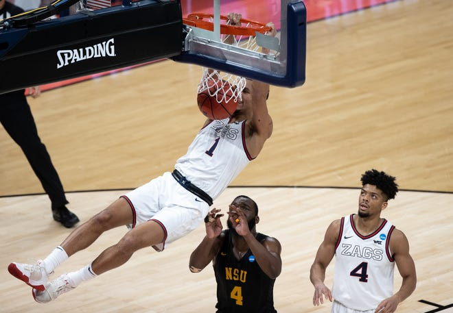 First round: Gonzaga guard Jalen Suggs dunks the ball during the Bulldogs' game against Norfolk State.