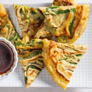 Scallion pancakes are a Chinese staple found often at dim sum restaurants and in home kitchens, too.