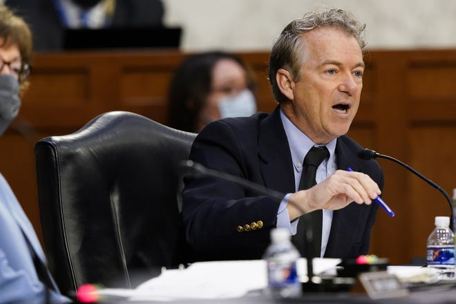 Sen. Rand Paul, R-Ky., speaks during a Senate Health, Education, Labor and Pensions Committee hearing on the federal coronavirus response on Capitol Hill in Washington, March 18. [AP Photo/Susan Walsh, Pool]