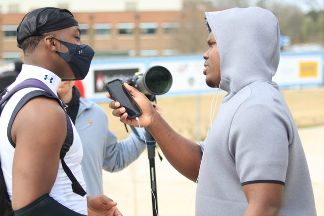 Christen Miller interviews Mykel Williams after the Under Amour All America Camp on Sunday.