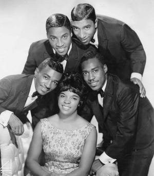 Ruby & The Romantics, featuring Ruby Nash and, from left,  Leroy Fann, Ed Roberts, Ronald Mosley and George Lee, take a portrait in 1963, the year the Akron group hit No. 1.