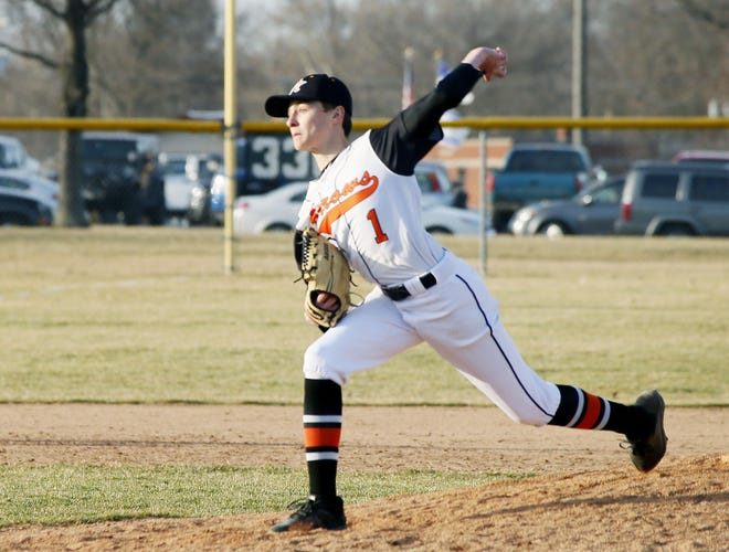 Ashland's Chase Hunt throws a pitch during a game in 2019. Hunt is one of two returning letterwinners for the Arrows.