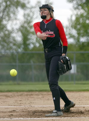 Crestview's Kylie Ringler throws a pitch during a game in 2019. Ringler is one of six returning letterwinners for the Cougars.