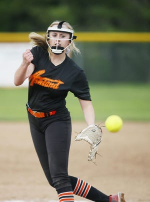 Ashland's Kristen Stromack throws a pitch during a game in 2019. Stromack is one of 10 returning letterwinners for the Arrows.